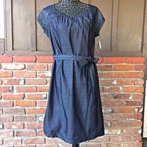 NWT Liz Claiborne Dark Denim Dress w/Waist Tie